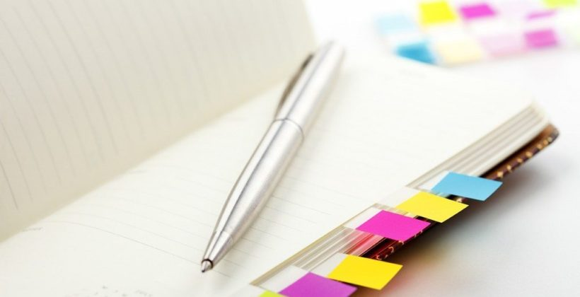 Notebook with bookmark and notepad